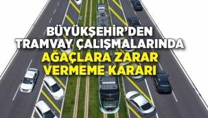İzmr Büyükşehir'den tramvay çalışmalarında ağaçlara zarar vermeme kararı