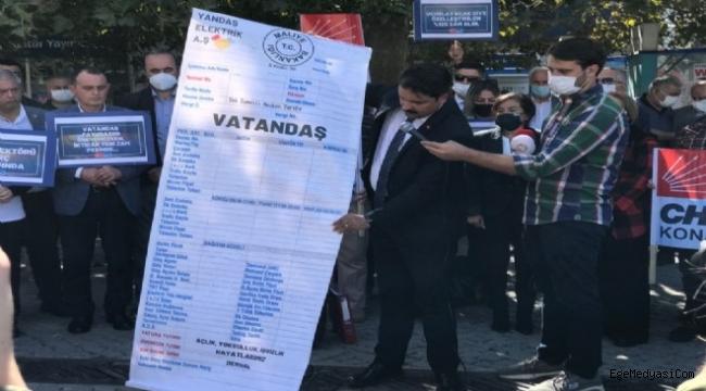 CHP Konak'tan 'dev faturalı' zam eylemi